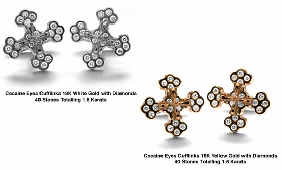 Cocaine Eyes Cufflinks with Diamonds