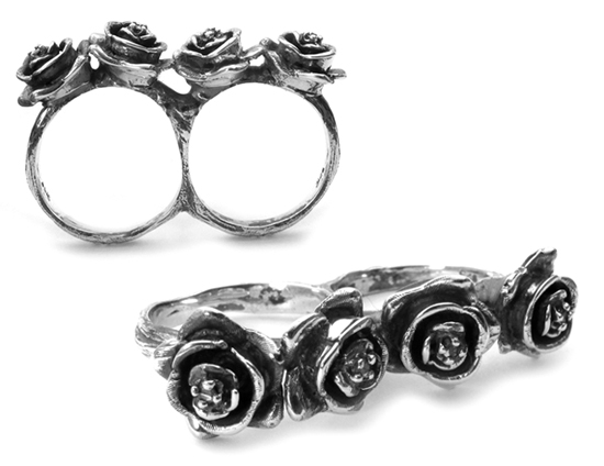 Double Rose Rings Silver