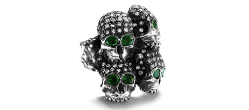 Dont Fuck Around Cardinal Ring with Pave Diamonds & Emerald Eyes