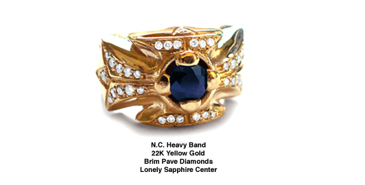 N.C. Heavy Band 22K Gold Brim Pave Diamonds Lonely Sapphire Center