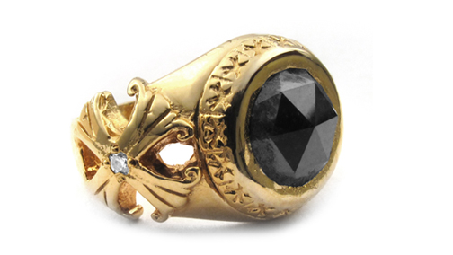 Scarfo Ring 18K Gold Rose Cut Black Diamond