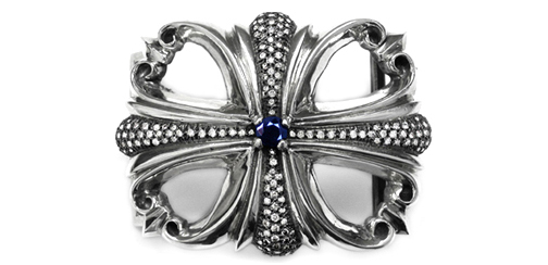 Morphine Ferry Buckle Silver with Lonely Sapphire & Pave Diamonds