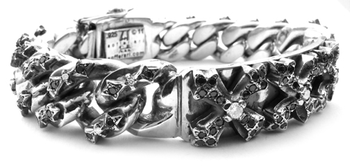 N.C. Cross Bracelet with Black and White Diamonds and Bowtie Pave Links