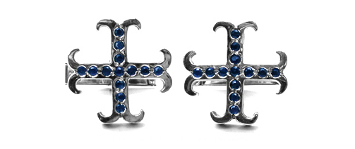 Large O.G. Badge 13 Sapphires Cufflinks