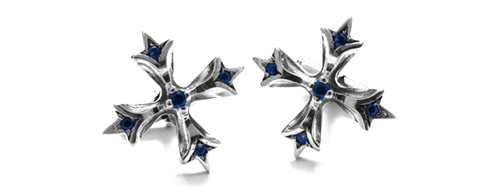 Large N.C. Badge Cufflinks with Sapphires