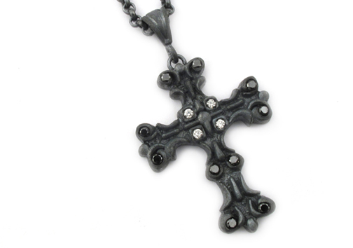 Medium Gambino Cross Pendant with Diamond Centers and Black Diamond Tips