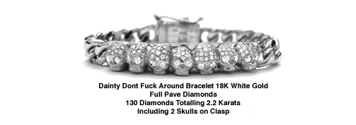 Dainty Dont Fuck Around Bracelet 18K Gold with Full Pave Diamonds