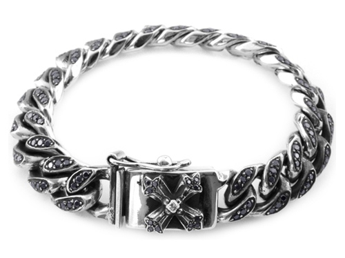 Quaker Links Bracelet with Pave Black Diamonds