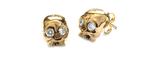 Dainty Skull Earrings 18K Gold with Diamond Eyes