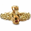 Small Skull Pendant 18K Gold with Ruby Eyes
