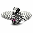 Small Skull Pendant Pave Diamonds with Pink Sapphire Eyes