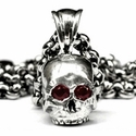 Medium Don't Fuck Around Skull Pendant with Ruby Eyes