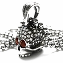 Medium Don't Fuck Around Skull Pendant Pave Diamonds with Ruby Eyes