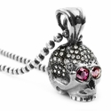Medium Don't Fuck Around Skull Pendant Pave Diamonds with Pink Sapphire Eyes
