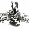 Medium Don't Fuck Around Skull Pendant Pave Diamonds with Emerald Eyes
