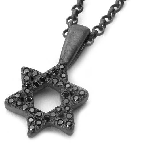 Tiny J Star Black Diamond Pendant