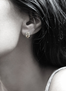 Dainty Skull Earrings 18K Gold with Pave Diamonds