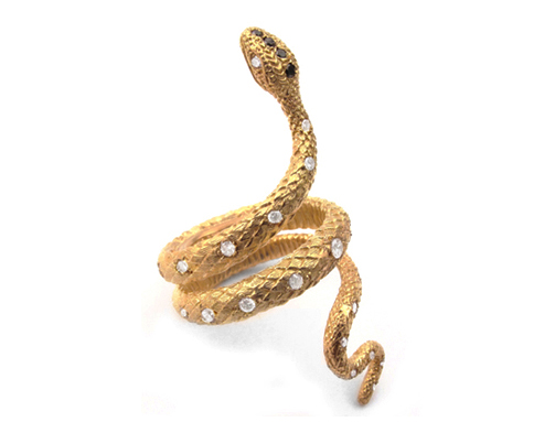 Diamond Back Snake Ring in 18K Gold with Diamonds