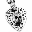 Millpond Guitar Pick Don't Fuck Around Skull Pendant