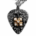Millpond Guitar Pick Pendant with 18k Gold E.C. Cross and Diamonds