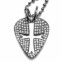 Black Guitar Pick Guitar Pick Pendants with Pave Diamonds