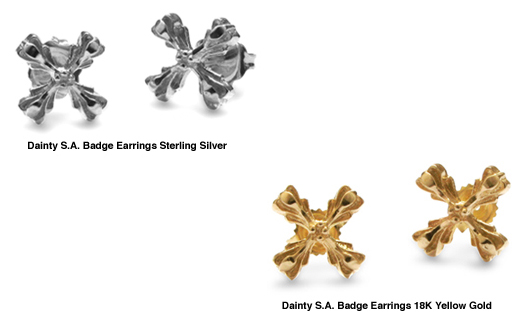 Dainty S.A. Badge Earrings