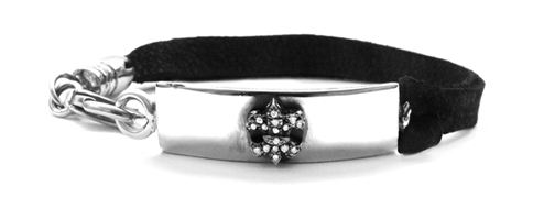 Tiny Waldorf Fleur with Diamonds Leather Bracelet