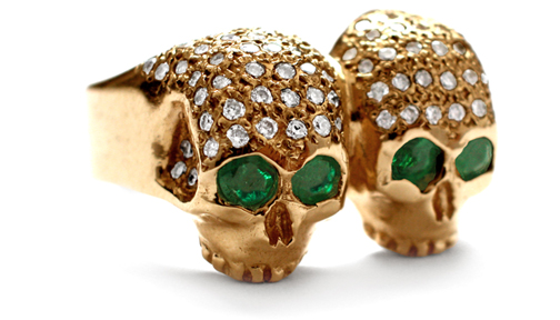 Don't Fuck Around Ring 18K Gold Pave Diamonds & Emerald Eyes