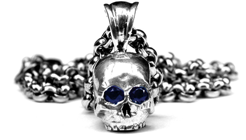 Small Skull Pendant with Sapphire Eyes