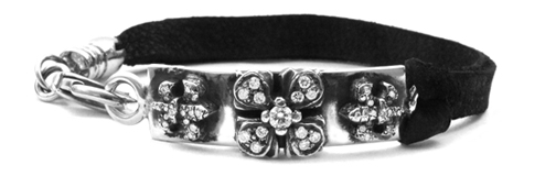 Tiny Waldorf Fleurs & E.C. Cross Pave Diamonds Leather Bracelet