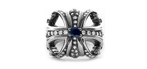 Morphine Ferry Ring Pave Diamonds and Lonely Sapphire Center
