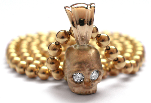 Small Skull Pendant 18K Gold with Diamond Eyes
