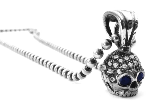 Small Skull Pendant Pave Diamonds with Sapphire Eyes