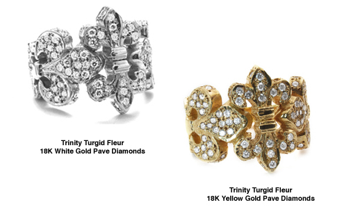 Trinity Fleur Bands 18K White and Yellow Gold with Dimaonds
