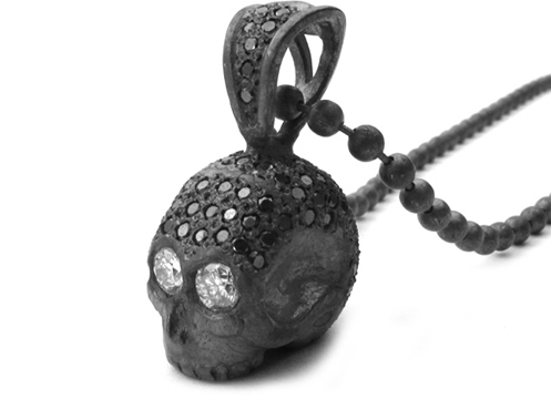 Medium Don't Fuck Around Skull Pendant Pave Black Diamonds and Diamond Eyes