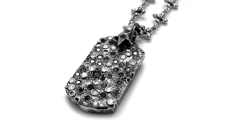 Medium Dog Tag Vieux Carre White and Black Diamonds