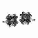 Medium O.G. & N.C. Badge Cufflinks Diamond Centers Pave Black Diamond Tips