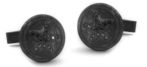 Star Cufflinks with Black Diamonds
