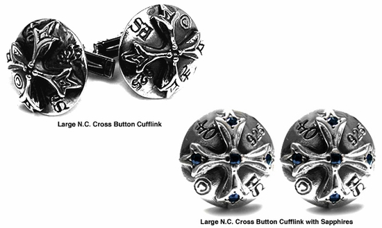 Large N.C. Cross Button Cufflinks