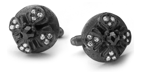Medium E.C. Button Cufflinks Black Diamond Center White Diamond Tips