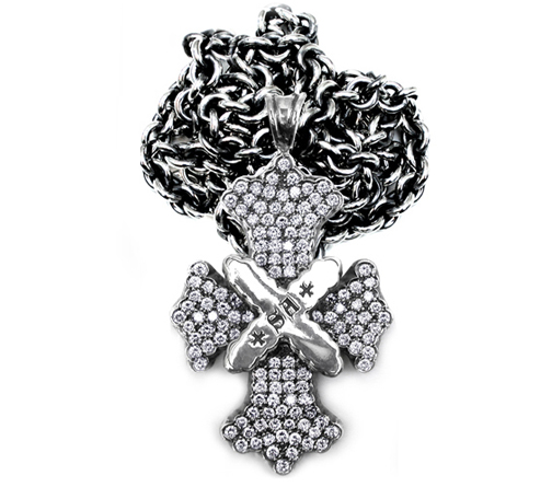 Syndicate Cross Pendant Sterling Silver Pave Diamonds
