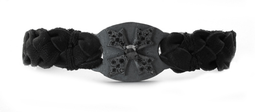 Braided Leather Memento Mori Bracelet Black Diamond Black Diamond Tips