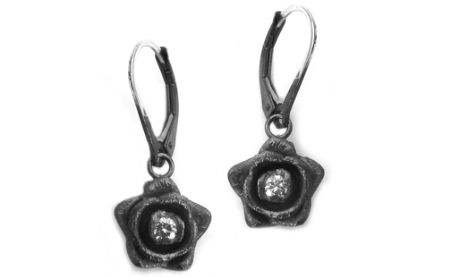 Rose Earrings with Diamonds