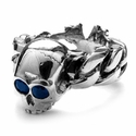 Skull and N.C. Quaker Link Ring with Sapphires