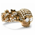 Skull & N.C. Quaker Link Ring 18K Gold with Diamonds