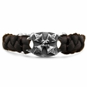 Braided Leather Memento Mori Bracelet Lonely Rose Cut Black Diamond Center