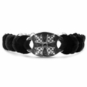 Braided Leather Memento Mori Bracelet Black Diamond Center White Diamond Tips