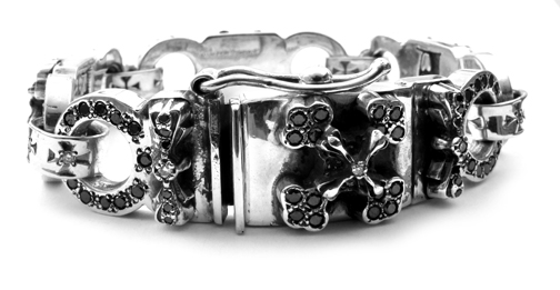 Cocaine Eyes Bracelet Diamond Centers with Full Pave Black Diamonds
