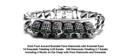 Dont Fuck Around Bracelet Pave Diamonds with Emerald Eyes