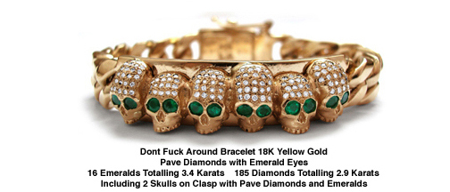 Dont Fuck Around Bracelet 18K Gold with Diamonds and Emerald Eyes